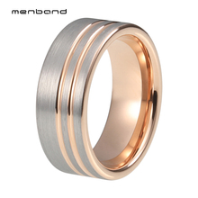 цена Tungsten Wedding Bands Ring Rose Gold Wedding Ring Set For Men And Women With Grooves And Brushed Finish в интернет-магазинах