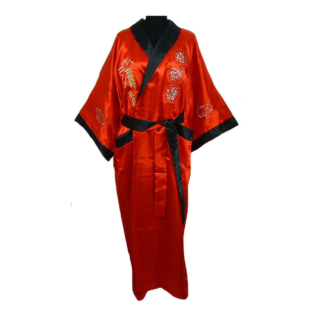 7279a31b23 Red Black Chinese Men Reversible Silk Robe Embroidery Kimono Bathrobe Gown  Two-side Nightwear With Dragon One Size MR071