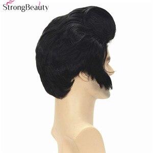 Image 4 - חזק יופי סינטטי קצר קוספליי פאות שחור גוף גל גברים של פאה
