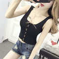 Summer Women Fashion Slim Knitting Lace Up Tank Crop Tops Female Bodycon Knitted Camisole Sleeveless Short T shirts  2711
