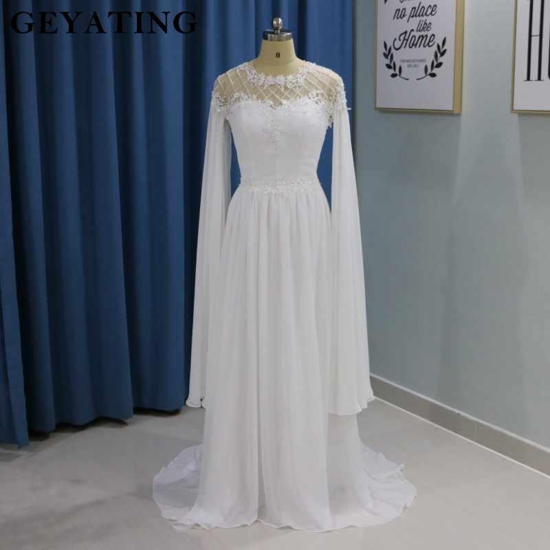 5ce63fbcc40 Греческий Стиль Белый Летний Пляж Boho Свадебное платье с рукавами Бисер  страны свадебные платья в греческом