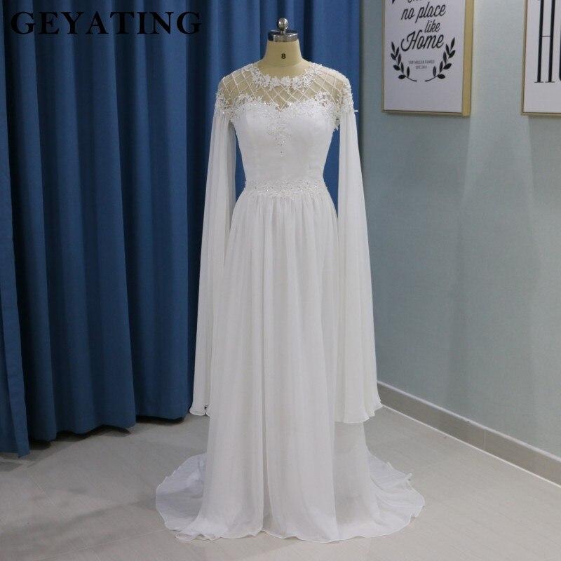 Style grec Blanc D'été Plage Boho Robe De Mariée avec Manches Perles Pays Robes De Mariée Grecque A-ligne En Mousseline de Soie robe de Mariée