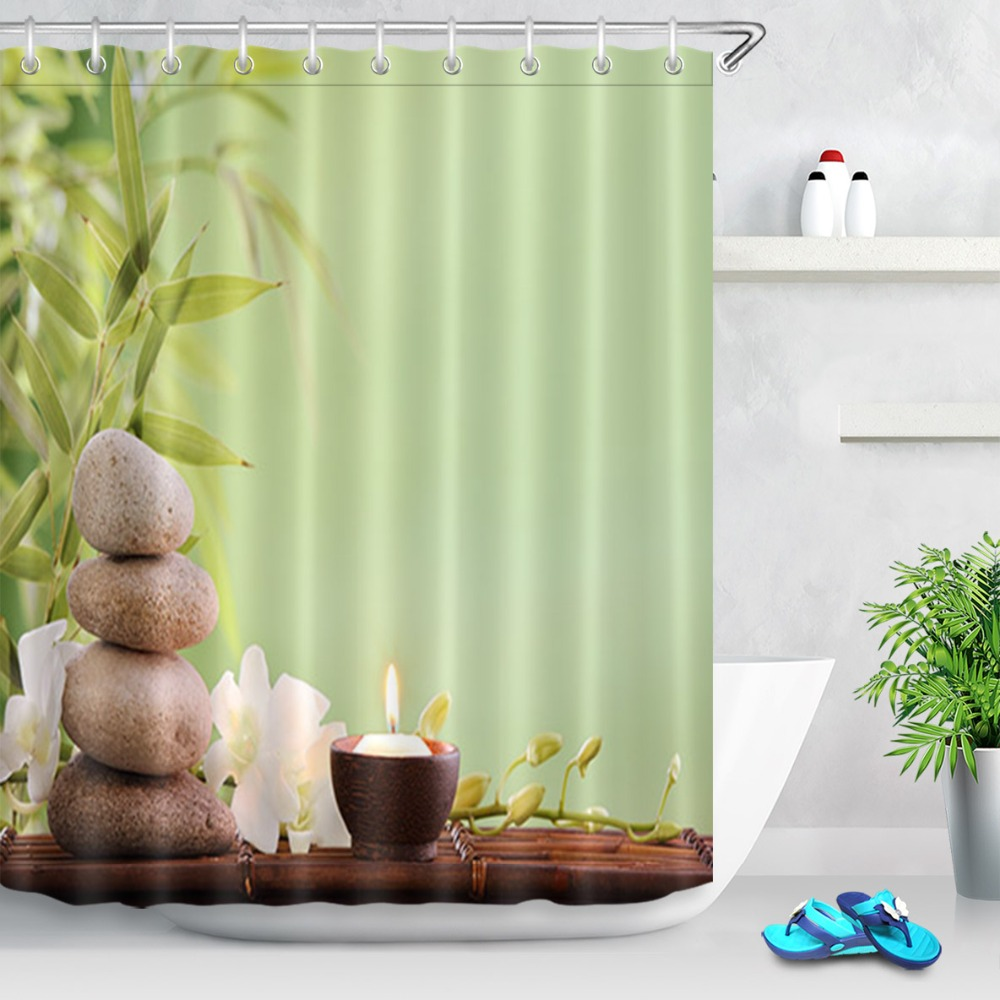 LB 72 Asian Zen Water Stones Shower Curtain Flower Green Bamboo Leaf Polyester Fabric Bathroom Curtains For Bathtub Home Decor