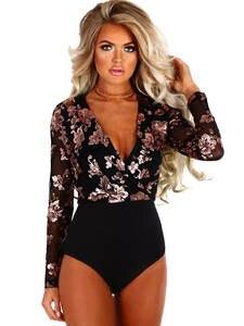 SEBOWEL Mesh Bodysuit Romper Club-Wear Long-Sleeve Sequin Floral-Printed Gold Sexy Black
