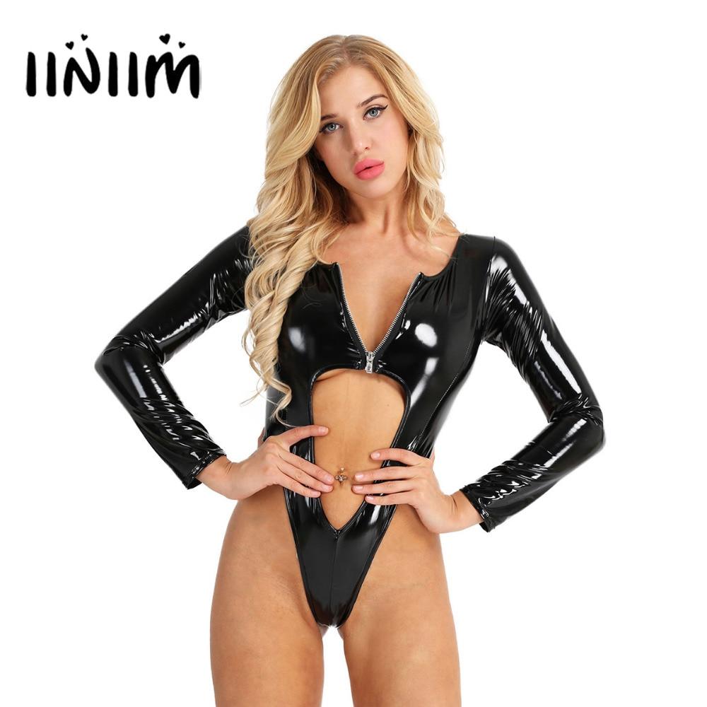 Womens Wetlook Bodycon Night Clubwear Patent Leather Front Zipper Hollow Out High Leg Cut Thong Leotard Bodysuit   Jumpsuit