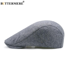 BUTTERMERE Grey Beret Hat For Men Gatsby Style Hats Wool Winter Duckbill Flat Cap Adjustable Women Retro Driving Cabbie Cap stylish adjustable buckle dark color retro style men s cabbie hat