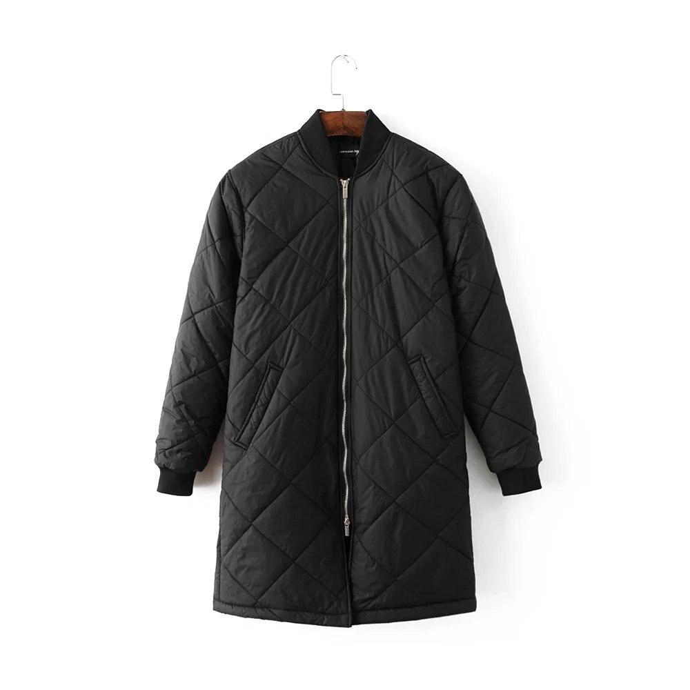 1ca20c0b452 Women Winter Bomber Jacket Women Padded Coat Female Casual Black Coat  aqueta feminina Quilted Long Jacket-in Basic Jackets from Women's Clothing  on ...