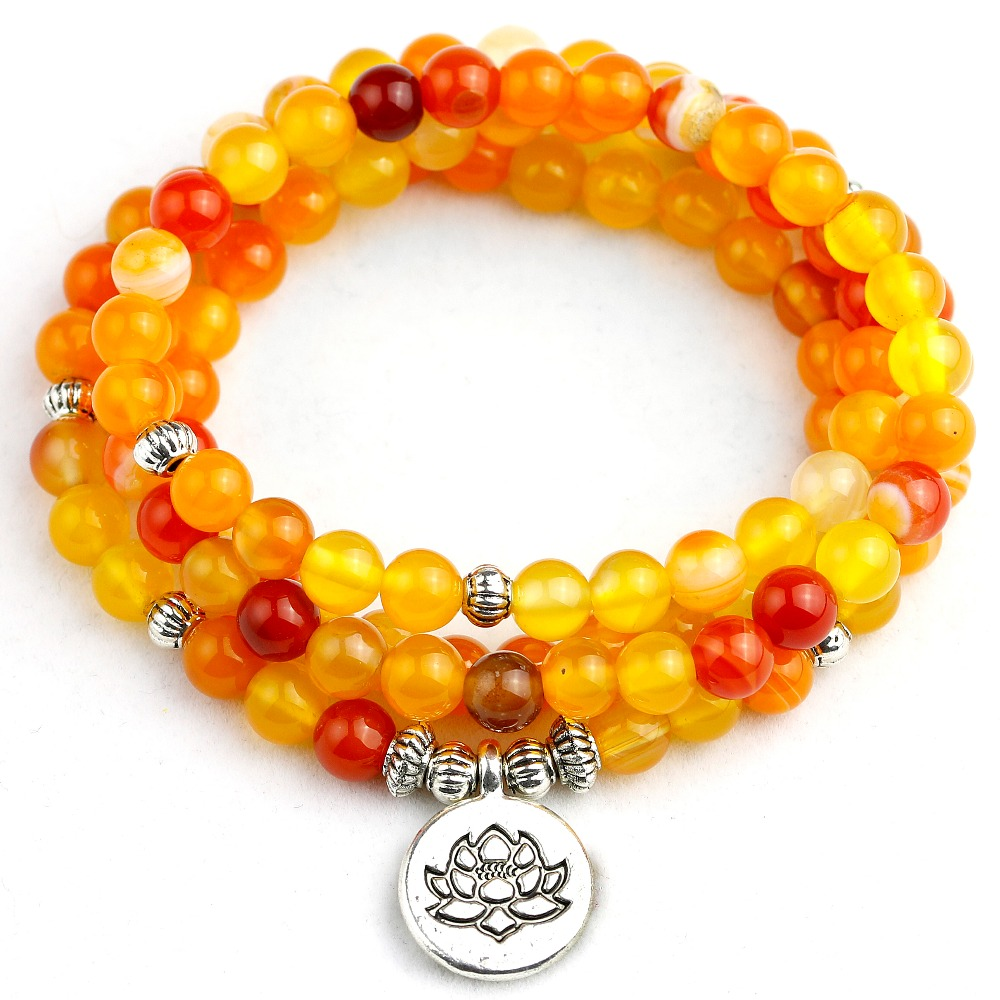 cca75c495907 6mm   108 raya anaranjada Natural Onyx Meditación Budista Mala pulsera o  collar mujeres hombres Yoga hecho a mano joyería