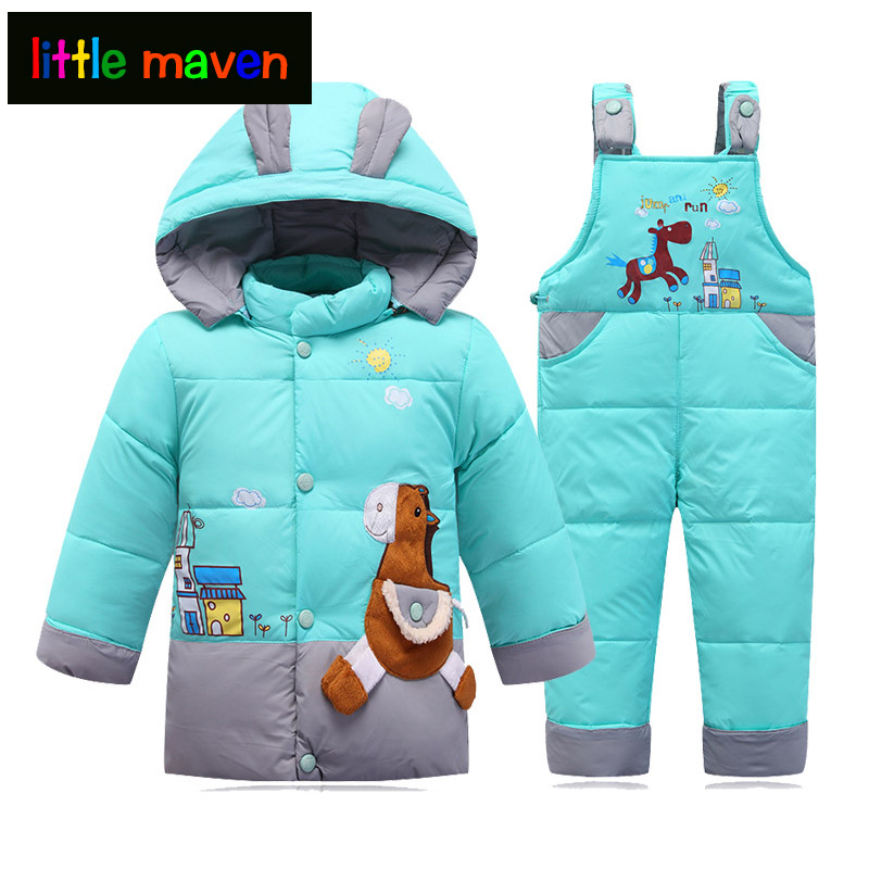 2017 Winter Children Duck Down Hooded Jacket+Overalls Sets Cute Trojan horse Baby Girls Boys Clothing Windbreakers Coat Jacket kinston trojan