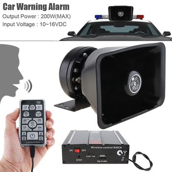 12V 200W 18 Tone Loud Vehicle Warning Alarm Police Emergency Siren Horn Speaker with MIC System & Wireless Remote Control
