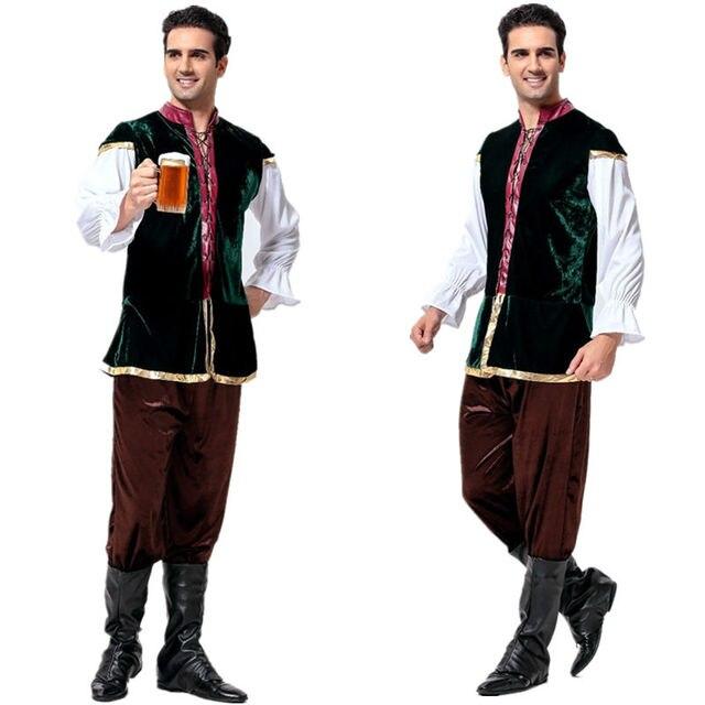 Tavern Renaissance Medieval Costume Bavarian Beer Men Costumes Adult Beer  Costumes Oktoberfest Lederhosen Outfit