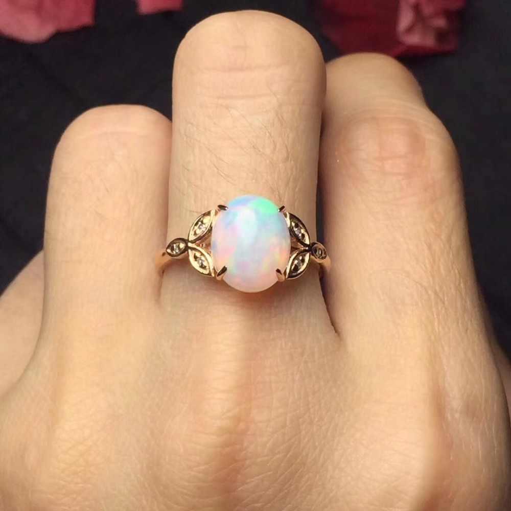 הנדל טהור 18 K זהב תכשיטי AU750 G18K Diamonds100 % טבעי זהב אופל חן נשי טבעות לנשים טבעת יפה