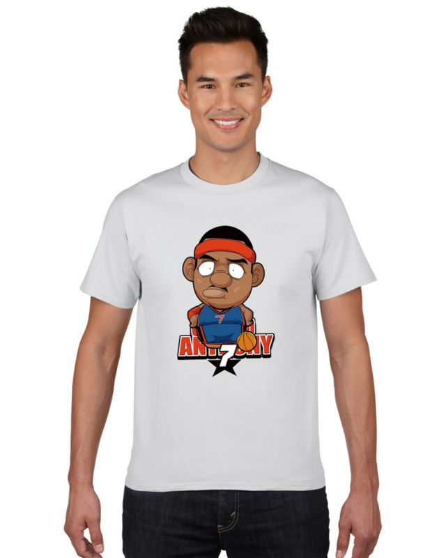 The knicks carmelo anthony cartoon t shirt 100 cotton men for Men s basketball t shirts