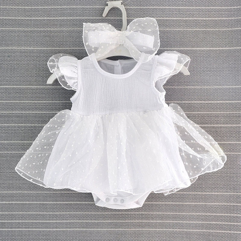 Fashion Summer Baby Girl Clothes White Romper with Skirt Big Bow Headband Onesie Set Little Princess Birthday Party Wear LT14