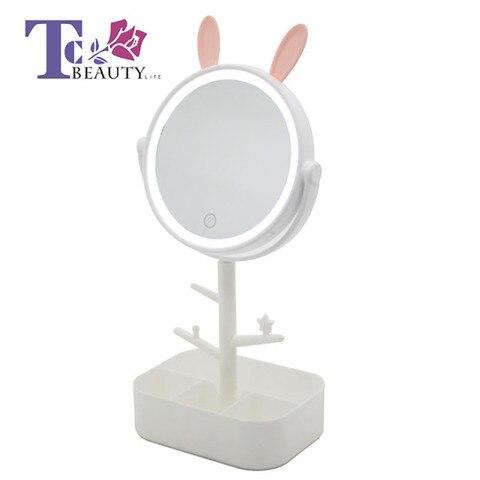 Port til LED Sensoriamento Iluminado Maquiagem Espelho Espelho de Vaidade de Desktop Compacto De Viagem