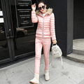 2017 pink winter jacket pants women fashion cute autumn padded down coat suit with fur hood warm thermal overcoat manteau femme