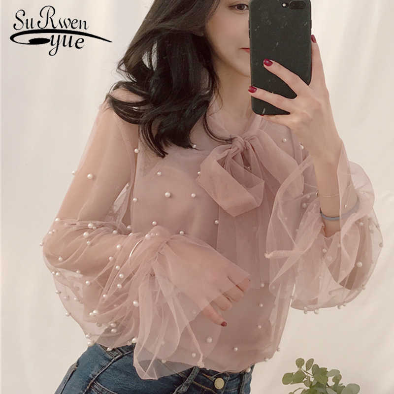 Blouse 2019 Summer Spring Women Chiffon Shirt Gauze Bow Beading Female Blouses Tops Office Shirts Blusa Pink White 4323 50