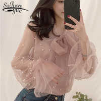 Blouse 2019 Summer Spring Women Chiffon Shirt Gauze Bow Beading Female Blouses Tops Office Shirts Blusa Pink White 4323 50