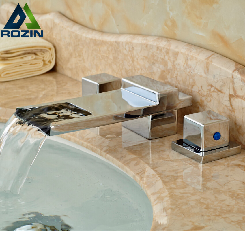 Dual Square Handle Waterfall Bathroom Basin Faucet Chrome Finish Widespread Brass Mixer Taps 3 Holes