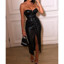 цена Sashes lace up pu leather dress women Solid tube slit coated pu dress Sexy party dresses Strapless off shoulder vestidos femme