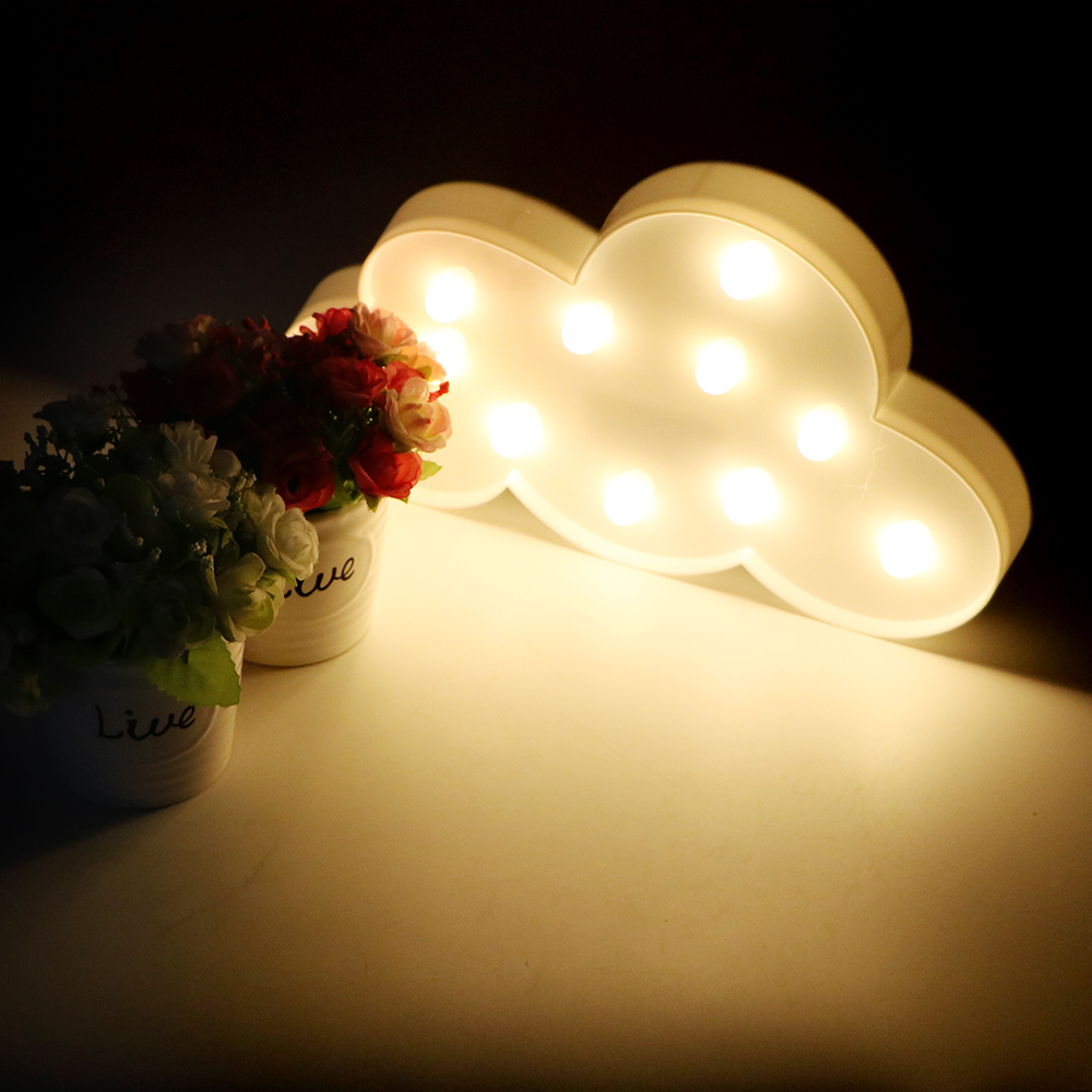 Battery operated 11 LED 3D Marquee Cloud Novelty LED Cartoon Lamp Indoor Lighting Night Lights Christmas Gift Home Decoration