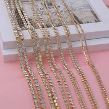 9 метров Золотое основание с прозрачными цветами стразы декоративный