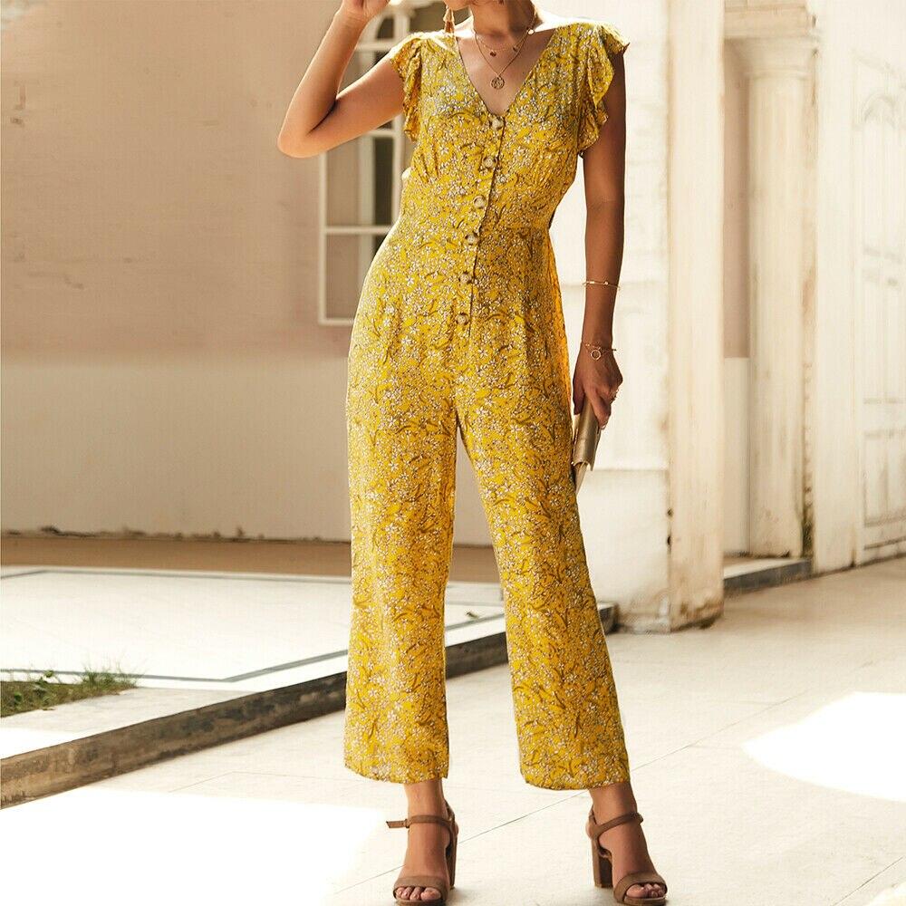 Hirigin Women Boho Floral Jumpsuit Fashion Summer Women's Sleeveless V-neck Party Wide Leg Long Pants Romper Combinaison Femme