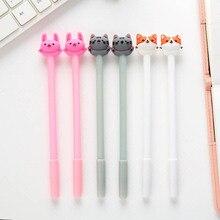 3PC Cute Kawaii Cat Gel Pen 0.5mm Cartoon Plastic Black Ink Gel Pens for Writing office & school supplies Stationery for school