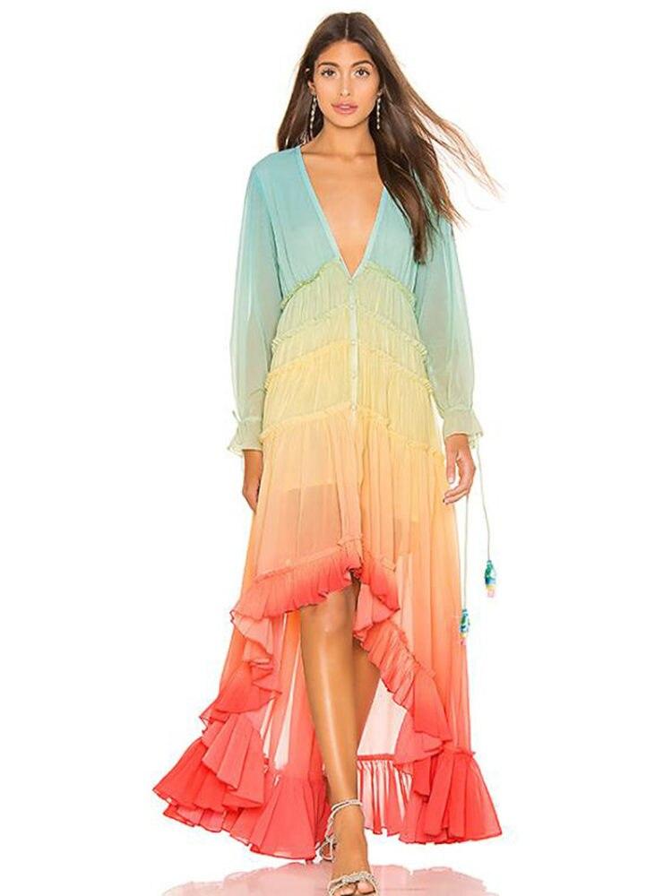 Rainbow High Low Dress Women V-Neck Tiered Ruffle Trim Summer Dresses Casual Lot