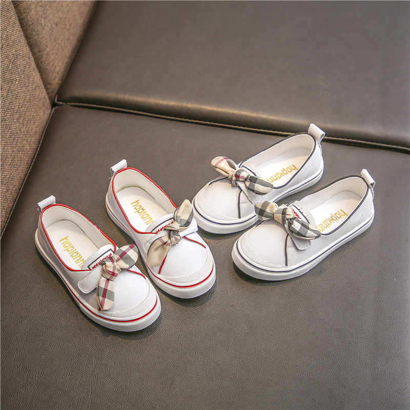 2018 Autumn New Leather Girls Little White  Children's Leisure Shoes Big Boy Shoes