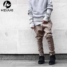 Hzijue 2017 calças moda marca santo calças basculador casuais dos homens zíper lateral fino impulso manshion khiki preto verde