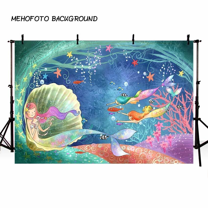 MEHOFOTO zeemeermin achtergrond Cartoon Bubble kasteel vis onderzees - Camera en foto