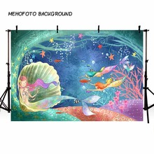 MEHOFOTO Mermaid Backdrop Kartun Bubble Castle Fish Undersea Birthday Party Custom Backdrop Photographic Professional LV-478