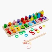 Детская деревянная обучение по методу Монтессори посчитать номера, соответствующие цифровой Форма матч раннее образование обучающая Математика рыболовные игрушки
