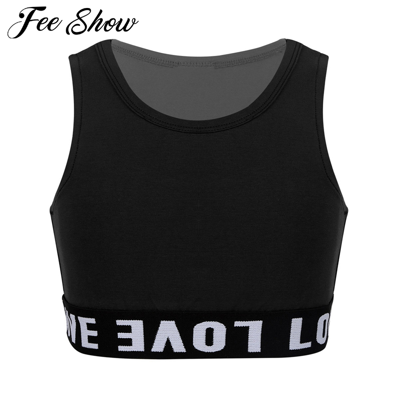 Kids Girls Sleeveless Tanks Tops Crop Top For Modern Jazz Street Dance Stage Performance Dancewear Clothes Child Workout Clothes