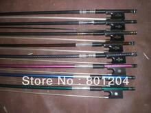 Wholesale 8pcs of Carbon fiber violin bow(composite violin bow 4/4) in different colors