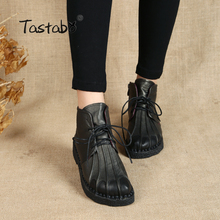 Tastabo Main Cheville Bottes Velours Chaud Martin Bottes Plates En Cuir Chaussures Rétro Hiver Neige Bottes Botines Mujer Femmes Chaussures