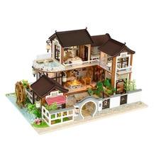 SLPF Wooden Toys For Children Classical House DIY Mini Dollhouse Toy With LED Light Handmade Doll House Model Furniture Kit J20