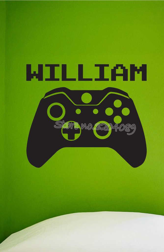 Wideo kontroler do gier przypomina maszyna do gier naklejki ścienne kontroler do Xbox One z nazwy niestandardowej dla graczy gamer nastolatek wystrój pokoju naklejka EA664
