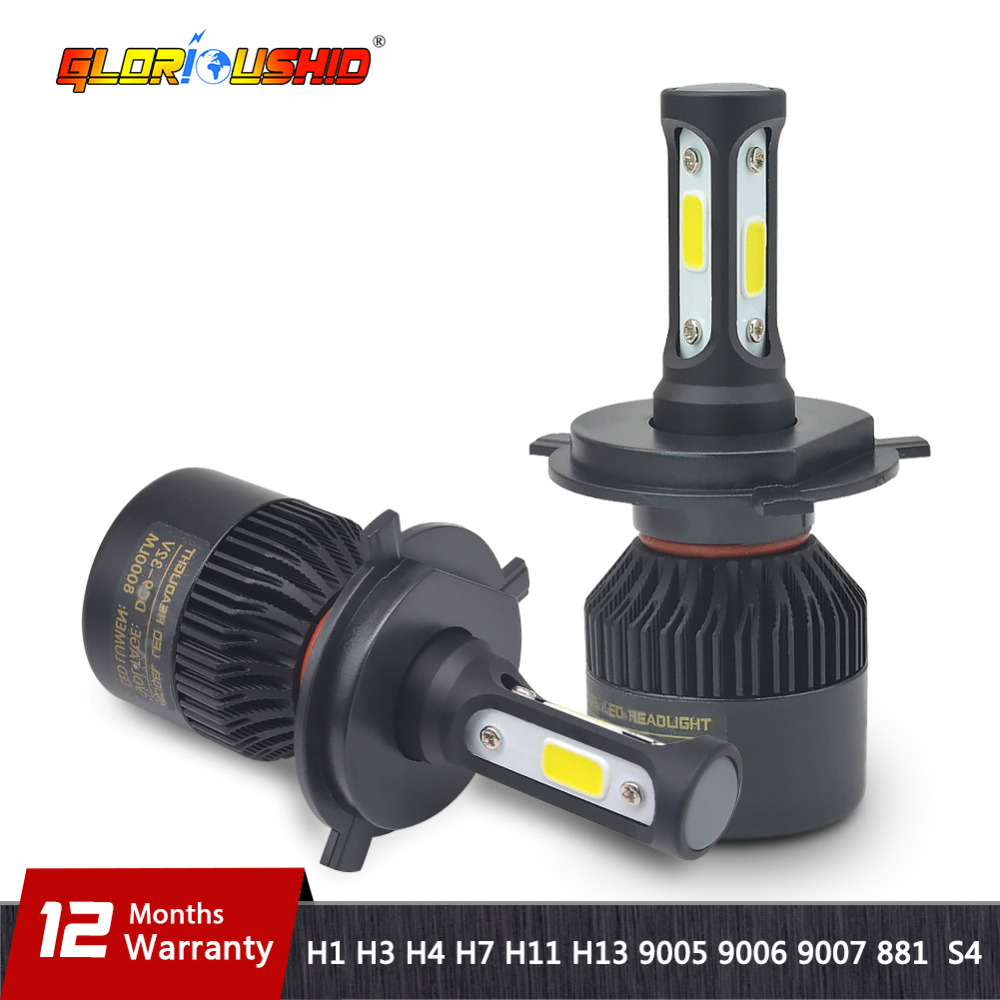 H7 LED H4 H11 H8 H9 H1 H3 H13 9005 HB3 9006 HB4 9007 881 coche LED faro 72 W 8000LM luz automático niebla bombilla 6500 K blanco puro