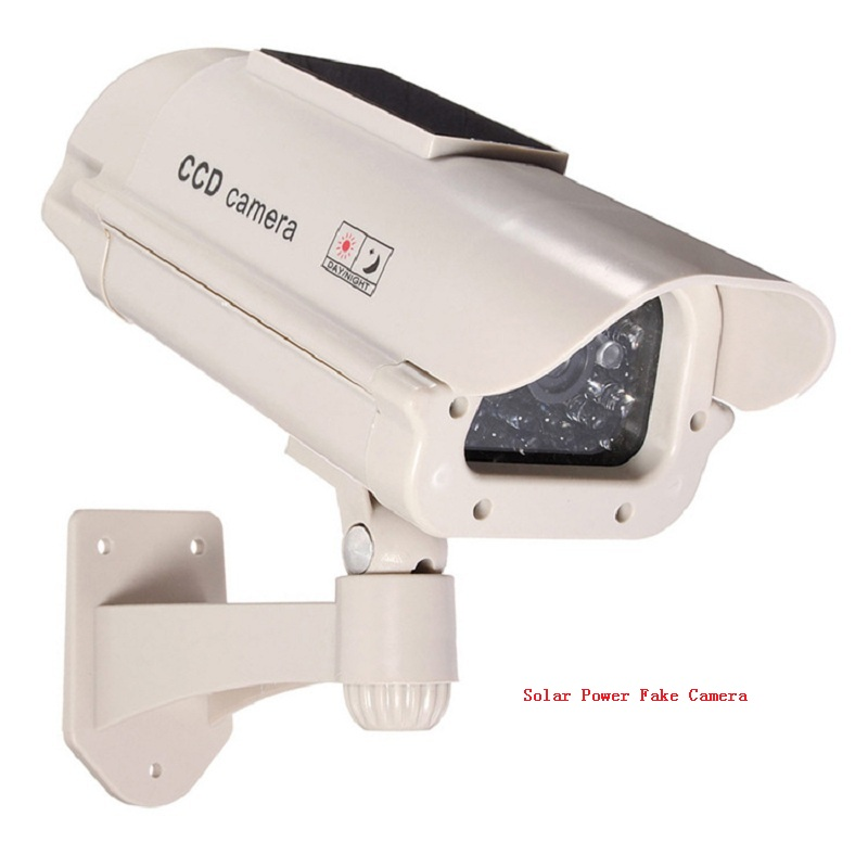 Solar Power Simulated Surveillance Dummy Camera Cctv Security Waterproof Outdoor Bullet Led Light Fake Video Home Camera 2in1 solar energy dummy waterproof outdoor indoor fake security camera night realistic camera cctv surveillance dummy camera led