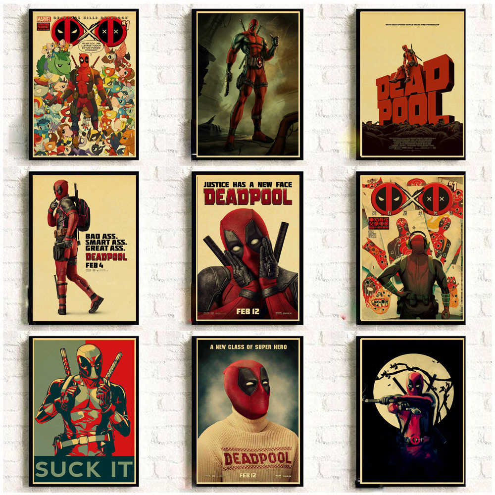 Vintage Posters Marvel Movie SuperHero Deadpool For Home/Bar/Living Decor kraft Paper high quality poster wall sticker