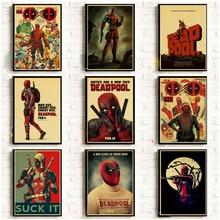 Pósteres Vintage Marvel película superhéroe Deadpool para la decoración del hogar/Bar/salón Papel kraft de alta calidad póster Adhesivo de pared