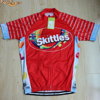 RIDE POINT Red Skittles Cycling Jerseys Maillot Ciclismo Summer Short Sleeve Mens 100 Polyester Breathable MTB
