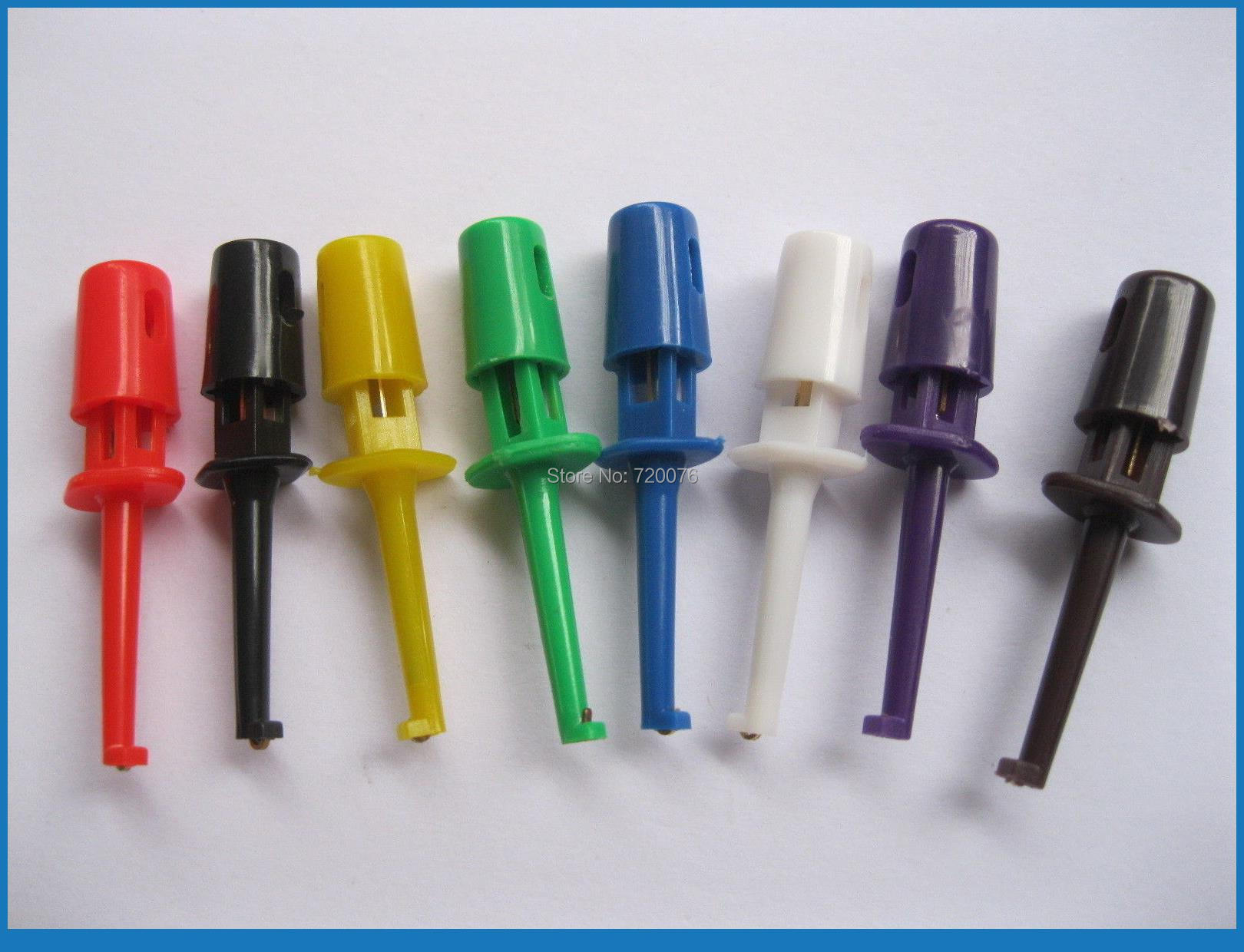 ФОТО 120 pcs (5 Set) Small Test Hook Clip for Multimeter 8 color Side Open Small-size