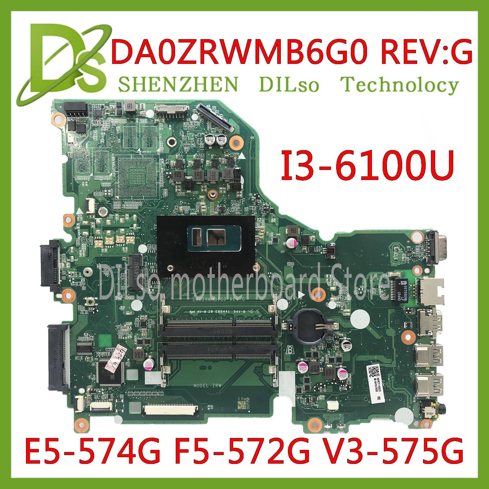 KEFU E5-574G V3-575G Motherboard mainboard Para Acer Aspire E5-574 E5-574G F5-572 V3-575 I3-6100U CPU DA0ZRWMB6G0 Teste original