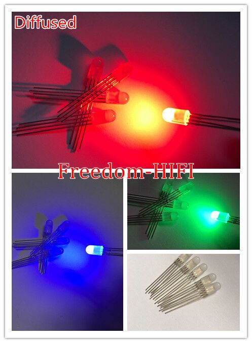 Active Components 20pcs 5mm Rgb Led Common Cathode Tri-color Emitting Diodes F5 Rgb Diffused 5mm Led Red Green Blue Colorful Non-Ironing
