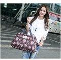 Curta Viagem Peso Leve Sacos de Viagem para As Mulheres Print Floral Bolsa Dobrável saco de viagem saco Da Bagagem Sacos de Viagem Duffle Q026