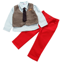 2016 Baby Boys Autumn Gentleman Clothing Set Baby Kids Embroidery Clothing Sets Babe vest+ shirt + pant 3-Piece Suit Set