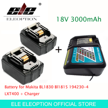 ELE ELEOPTION High Quality 2PCS 3000mAh 18V 3.0mAh Li-Ion Power Tool Battery for Makita BL1830 Bl1815 194230-4 LXT400 + Charger